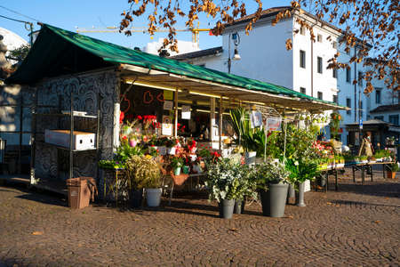 Udine, Italy. February 11, 2020. a flower shop in a square in the city center Editorial