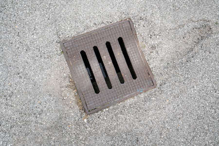 a sewer manhole in the street