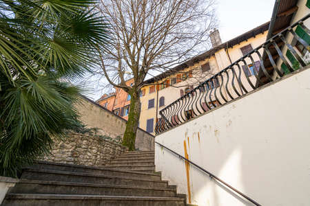 Udine, Italy. March 3, 2021. A panoramic view of Giacomo Matteotti square in the city center