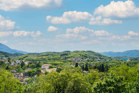 Gorizia, Italy. May 21, 2021. panoramic view of the cities of Nova Gorica and Gorizia straddling the border between Italy and Slovenia
