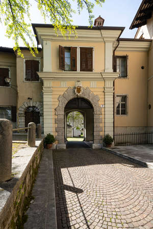 Gorizia, Italy. May 21, 2021. the arched entrance passage of the ancient Lantieri palace in the historic center of the city