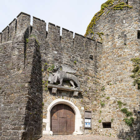 Gorizia, Italy. May 21, 2021. view of the venetian lion above the entrance gate of the city castle