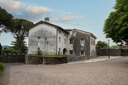 Gorizia, Italy. May 21, 2021. panoramic view of the old houses of the castle village on the hill in the city center