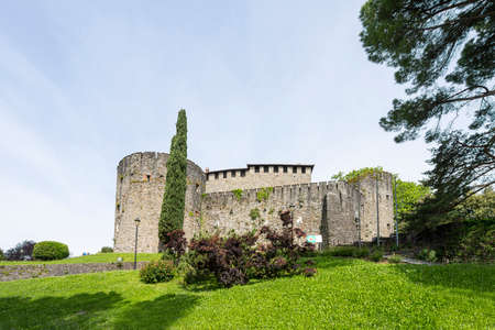 Gorizia, Italy. May 21, 2021. the panoramic view of the castle on the hill in the city center