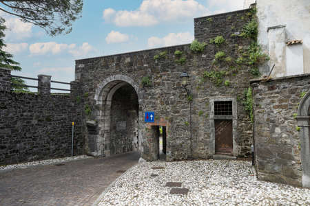 Gorizia, Italy. May 21, 2021. the ancient Porta Leopoldina which was the entrance to the castle village on the homonymous hill in the city center Editorial