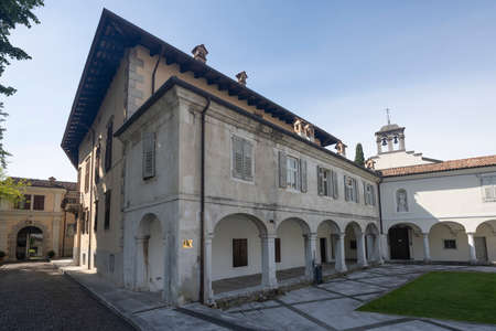 Gorizia, Italy. May 21, 2021. the facade of the ancient Lantieri palace in the historic center of the city Editorial