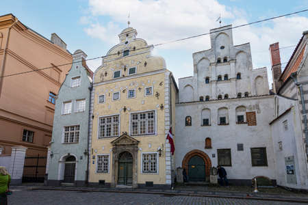 Riga, Latvia. 22 August 2021. A view of the Three Brothers buildings. Iconic trio of dwellings from the medieval era, also the site of the Latvian Museum of Architecture. Éditoriale