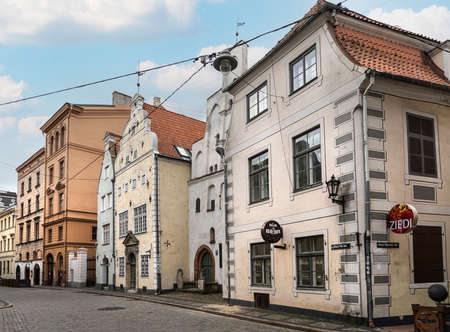 Riga, Latvia. August 2021. an outdoor view of the Three Brothers old buildings in the city center