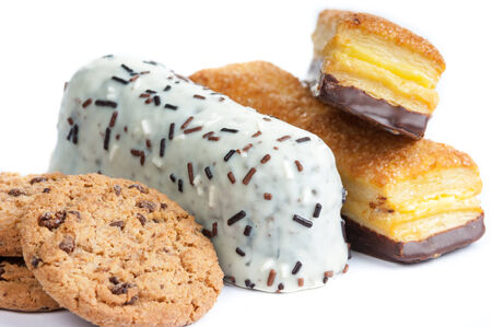 high calorie: the tasty pastries were photographed on a white background