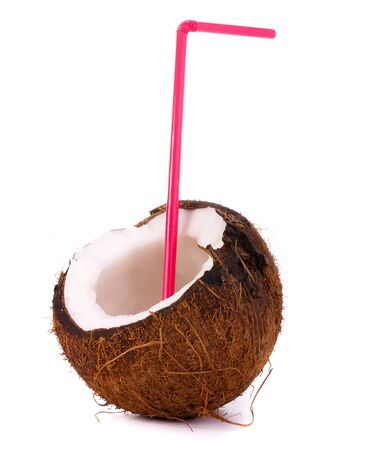 sweet pulp: the big beautiful coconut was photographed on a white background