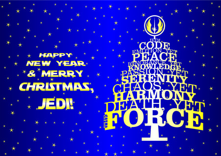 star Wars: Christmas new year tree for real Jedi. Blue bachground and yellow text especially for fans of the movie Star Wars Illustration