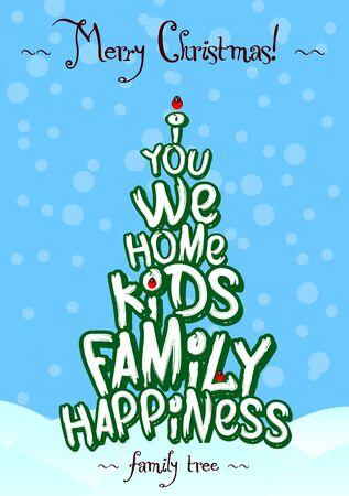 El árbol de navidad tarjeta de tipografía y diseño azules Foto de archivo - 48780910
