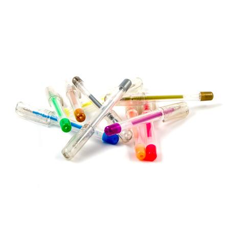 felt tip: Scattered colored felt tip pens on white background.