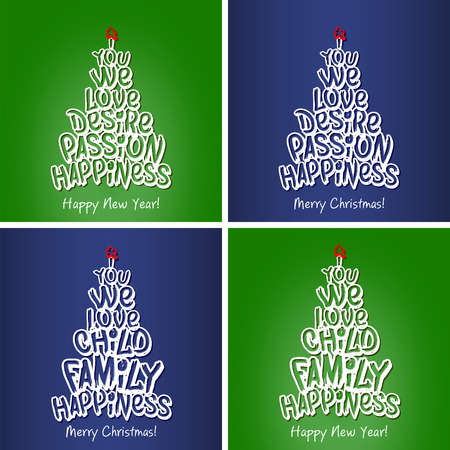 happy new year and christmas happiness family greeting card set merry christmas and happy new