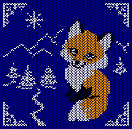 Knitted card with fox. Tree, mountain. Scandinavian blue knitted ornaments. Creative vector illustration.