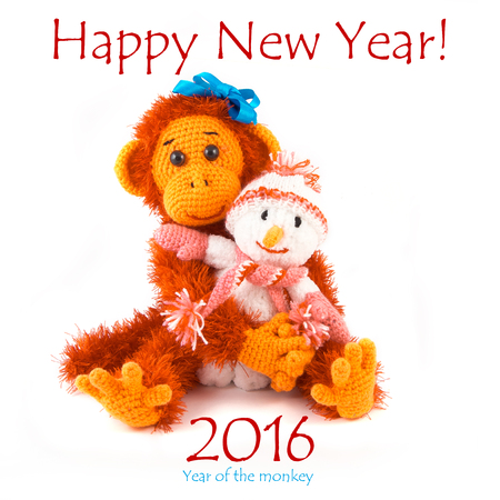 copycat: New year 2016. Monkey and snowman on a white background.