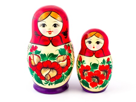 Russian nesting dolls. Babushkas or matryoshkas. Set of 2 pieces. Stock Photo