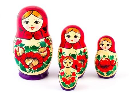 matryoshkas: Russian nesting dolls. Babushkas or matryoshkas. Set of 4 pieces.