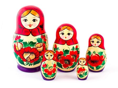 matryoshkas: Russian nesting dolls. Babushkas or matryoshkas. Set of 5 pieces.