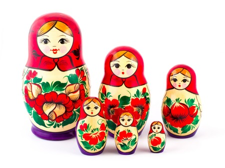 Russian nesting dolls. Babushkas or matryoshkas. Set of 6 pieces. Stock Photo