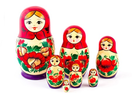 Russian nesting dolls. Babushkas or matryoshkas. Set of 7 pieces.