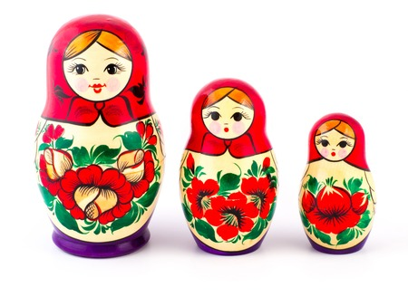 Russian nesting dolls. Babushkas or matryoshkas. Set of 3 pieces.