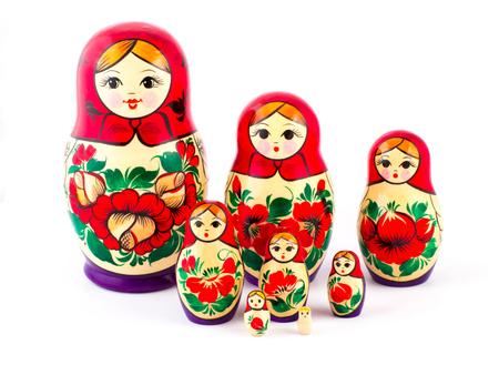 matryoshkas: Russian nesting dolls. Babushkas or matryoshkas. Set of 8 pieces. Stock Photo