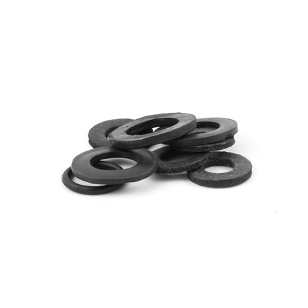 rubber gasket: Assorted rubber O rings, isolated. Black color Stock Photo