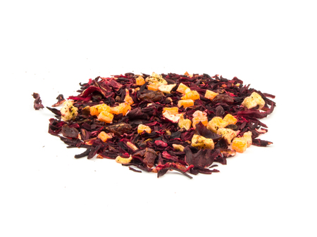 aromatic: Aromatic tea hibiscus flower candied fruit mix. Stock Photo
