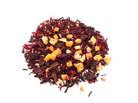 candied: Aromatic tea hibiscus flower candied fruit mix. Stock Photo