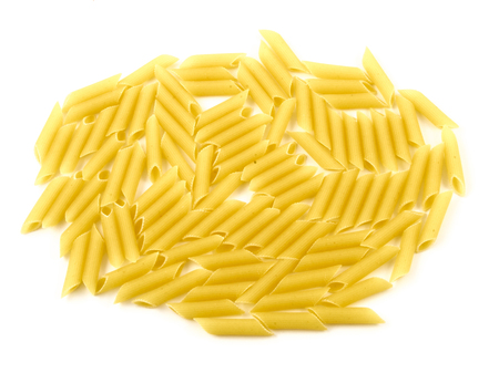 Raw uncooked pasta macaroni on white background
