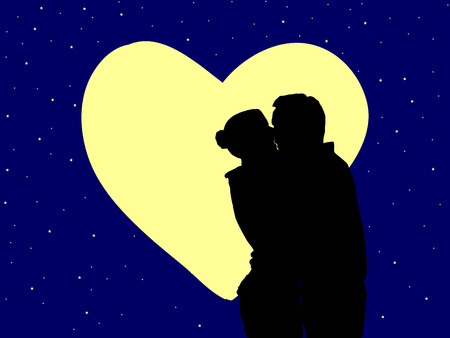 adoration: silhouette of guy kissing girls hand on blue full moon background. Stock Photo