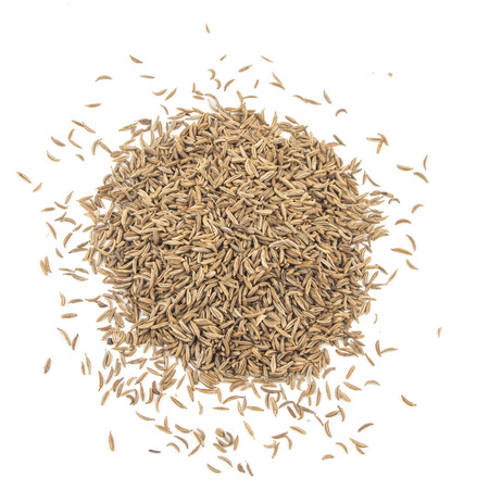 caraway: Cumin seeds or caraway isolated on white background, top view.
