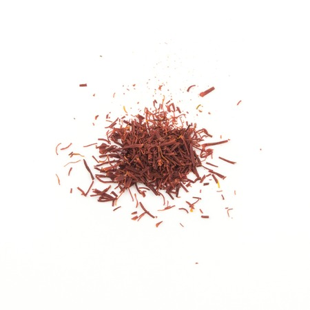 pistils: Saffron - dried pistils, for cooking on white.