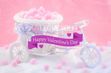 invents: Card Happy Valentines Day with a tricycle on a pink background.