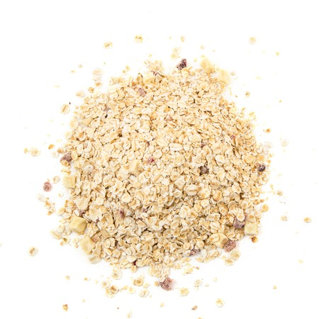 heap: Heap of muesli with apple and cherry, isolated on white.  Delicious granola cereal mix, with dried fruit and seeds.