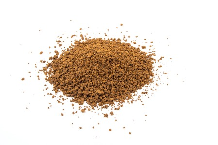 granulated: Instant granulated aromatic coffee on white background.