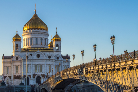 saviour: Cathedral of Christ the Saviour in Moscow, Russia. Winter sunset.