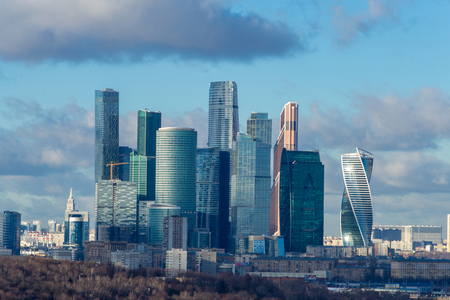 winter evening: Moscow city at winter evening, Russia. Stock Photo