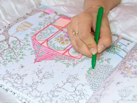 colour pencils: Female hand drawing with crayon in adult anti stress coloring closeup.