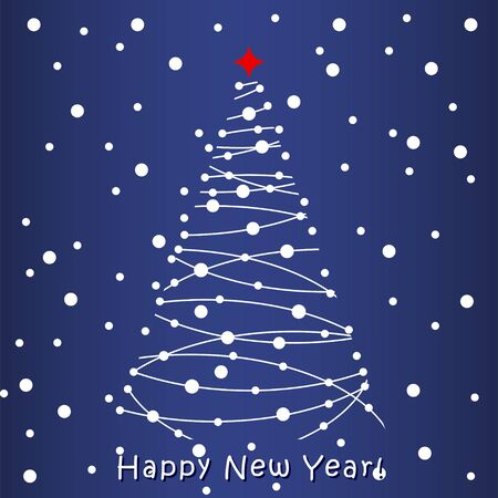 greeting card background: Happy New Year Greeting Card. Blue background Illustration