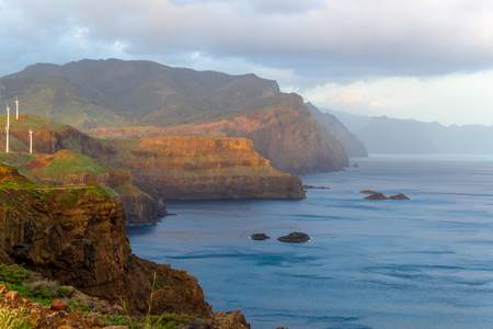 seascapes: Sunrise in the mountains and the ocean on the island of Madeira, Portugal.