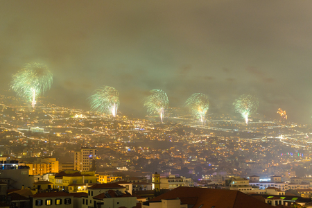 Magnificent New Year fireworks in Funchal, Madeira Island, Portugal. Stock Photo
