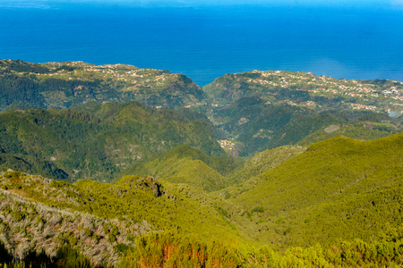 The path to Pico Ruivo, wonderful views of the mountain peaks in Madeira, Portugal. Stock Photo