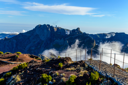 Clouds and peaks on top of the highest mountain of Madeira Pico Ruivo, Portugal.