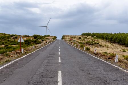 Straight road on the island of Madeira, the plateau Paul da Serra, Portugal Stock Photo