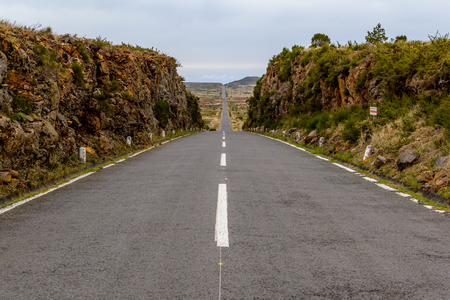 Straight road on the island of Madeira, the plateau Paul da Serra, Portugal.