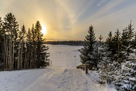 Sneeuwheuvel in het de winterbos. Russische winter, een sneeuwsprookje Stockfoto