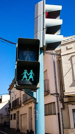 LGBT traffic light in a street of Europe
