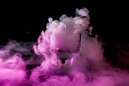 Chemical reaction of dry ice with liquid